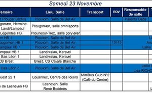 Convocations du week-end 23-24 novembre